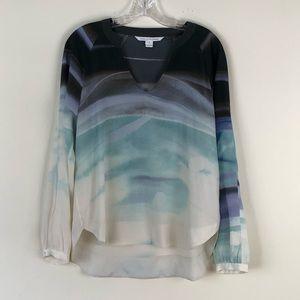 Diane Von Furstenberg Silk Long Sleeve Top Size 10
